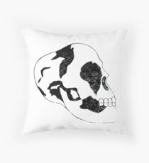 Black and White Skull  Throw Pillow