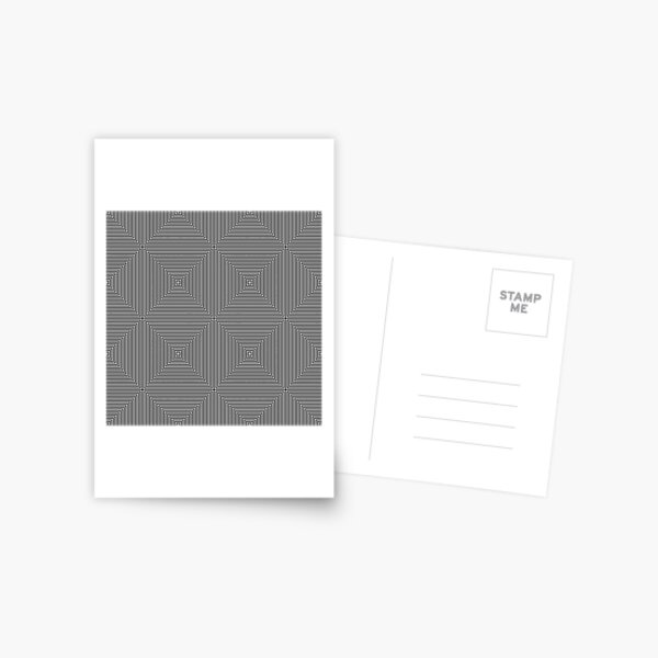 #Monochrome, #pattern, #design, #illusion, repetition, repeat, grid, decoration, simple, abstract, net, art Postcard