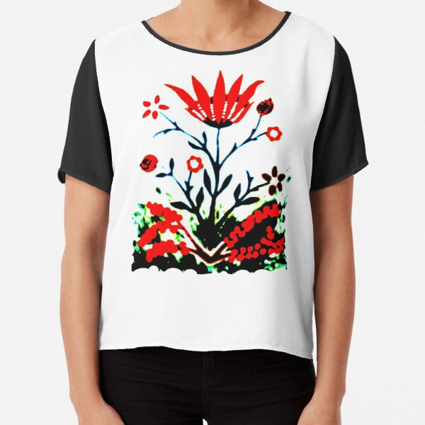 Forest Fire Flower Chiffon Top