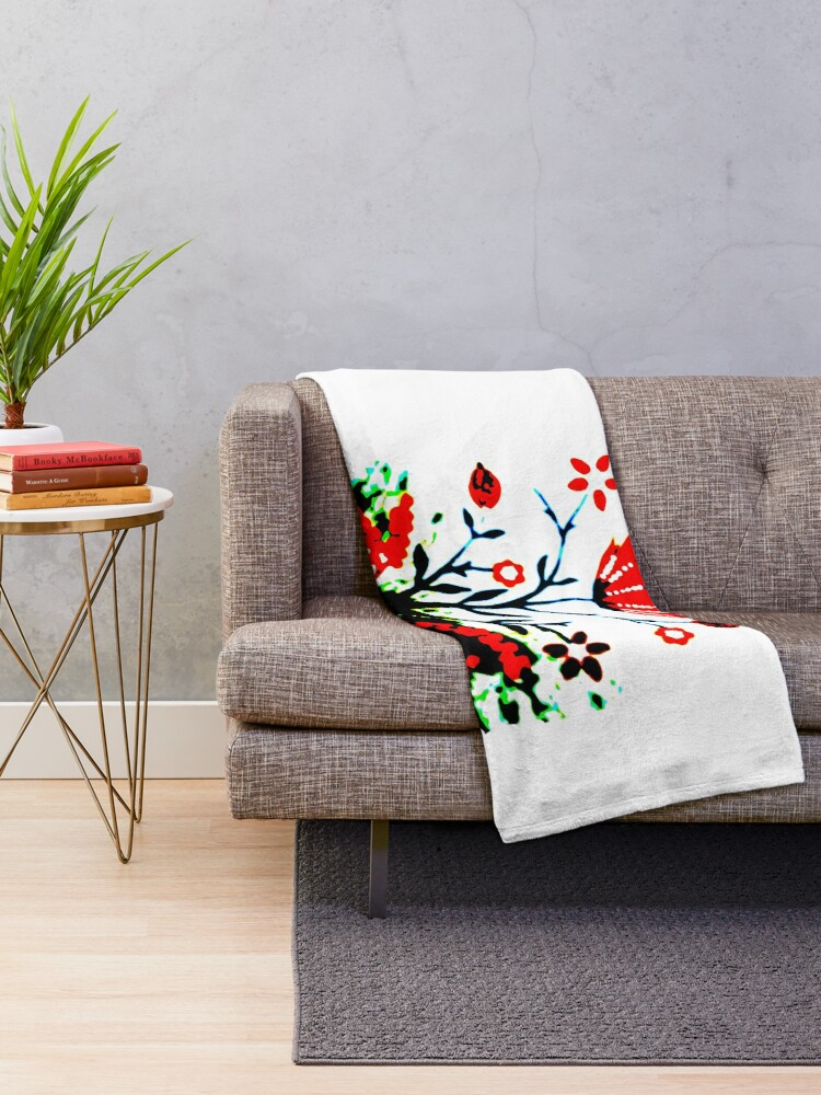 Alternate view of Forest Fire Flower Throw Blanket