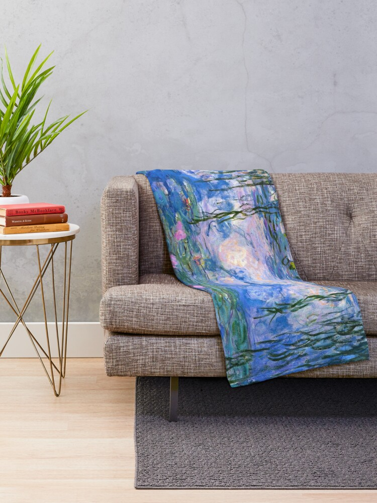 Alternate view of Water Lilies Monet Throw Blanket