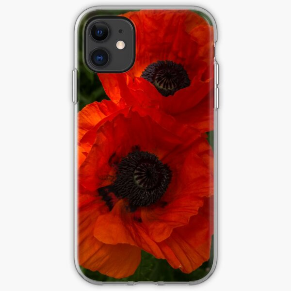 Hot Red Poppy Duet - a Vertical View iPhone Soft Case