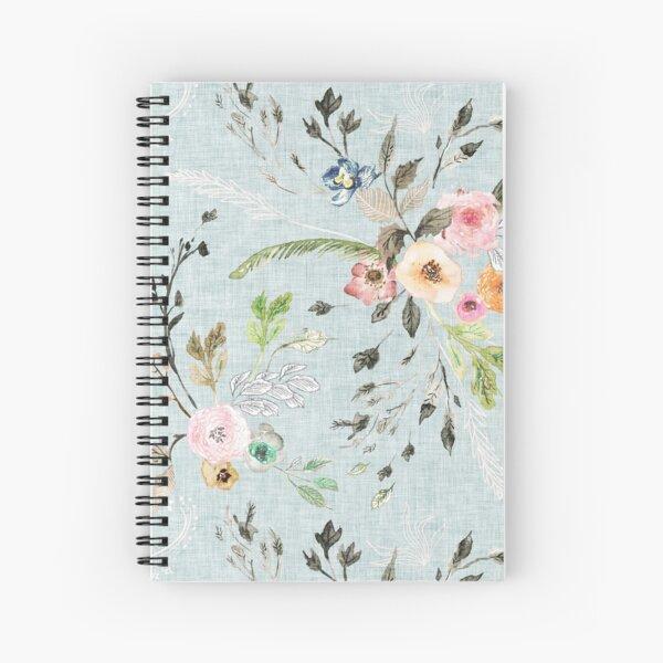 La Boheme Sky Blue Floral  Spiral Notebook