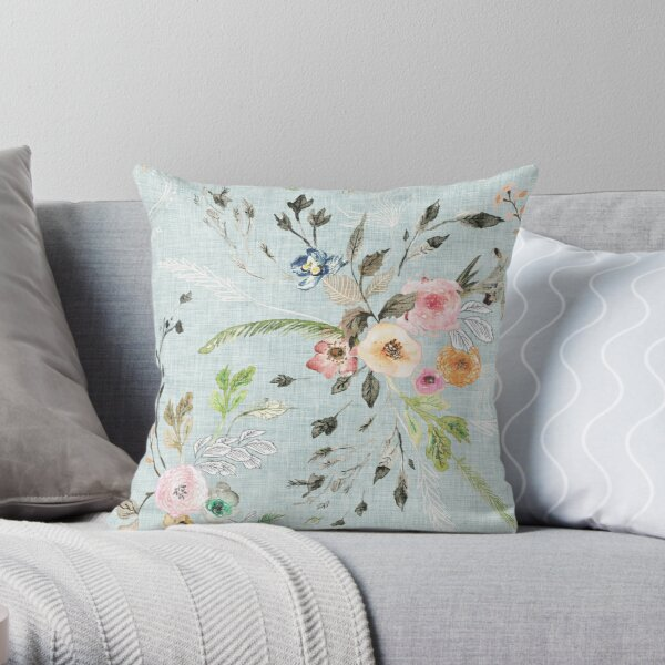 La Boheme Sky Blue Floral  Throw Pillow