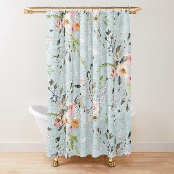 La Boheme Sky Blue Floral  Shower Curtain