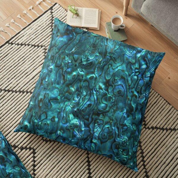 Abalone Shell   Paua Shell   Seashell Patterns   Sea Shells   Cyan Blue Tint    Floor Pillow