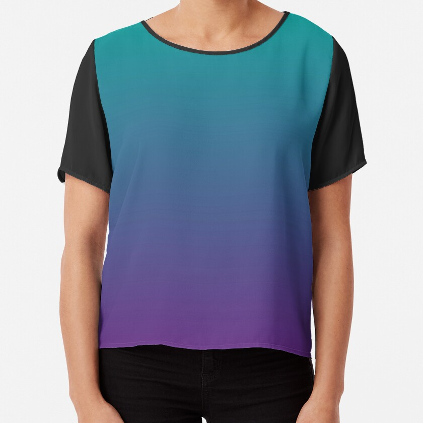 Ombre   Gradient Colors   Teal and Purple    Chiffon Top