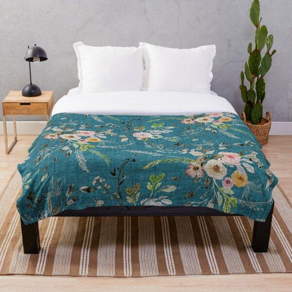 La Boheme Teal Floral  Throw Blanket