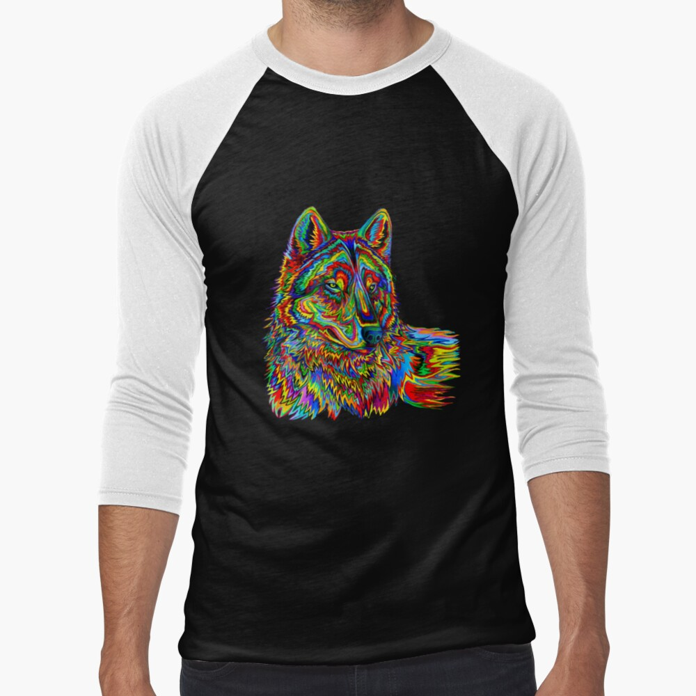 Colorful Psychedelic Rainbow Wolf Baseball ¾ Sleeve T-Shirt