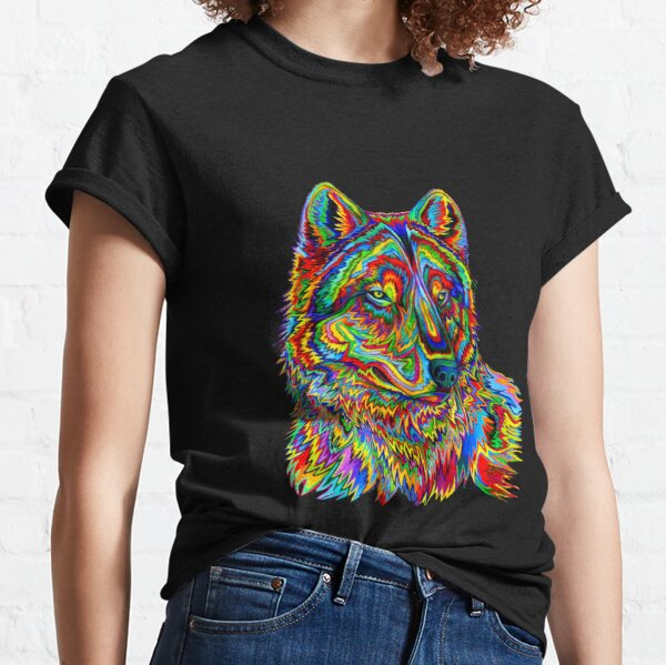 Colorful Psychedelic Rainbow Wolf Classic T-Shirt