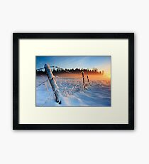 Warm cold winter sunset, Eesti looduskalender maastik Framed Print