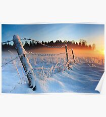 Warm cold winter sunset, Eesti looduskalender maastik Poster