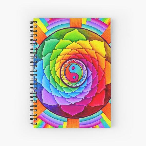Healing Lotus Rainbow Yin Yang Psychedelic Mandala Spiral Notebook