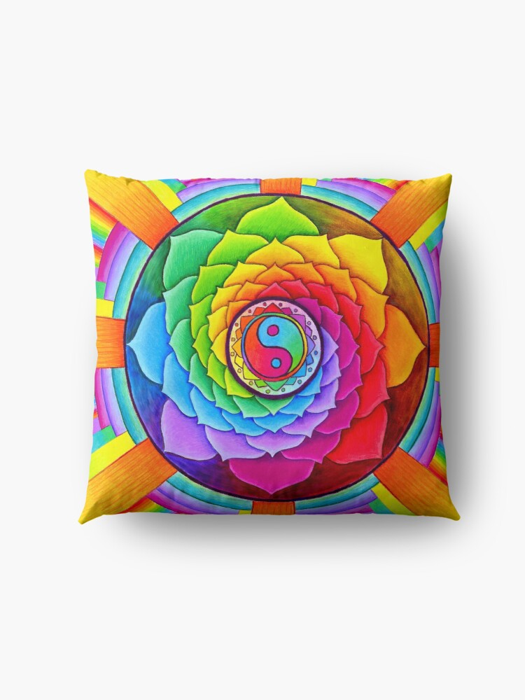 Alternate view of Healing Lotus Rainbow Yin Yang Psychedelic Mandala Floor Pillow