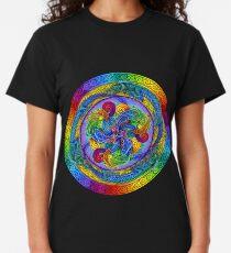 Camiseta clásica Dragones Psicodélicos Mandala Arco Iris