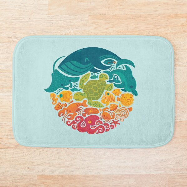 Aquatic Rainbow (light blue) Bath Mat
