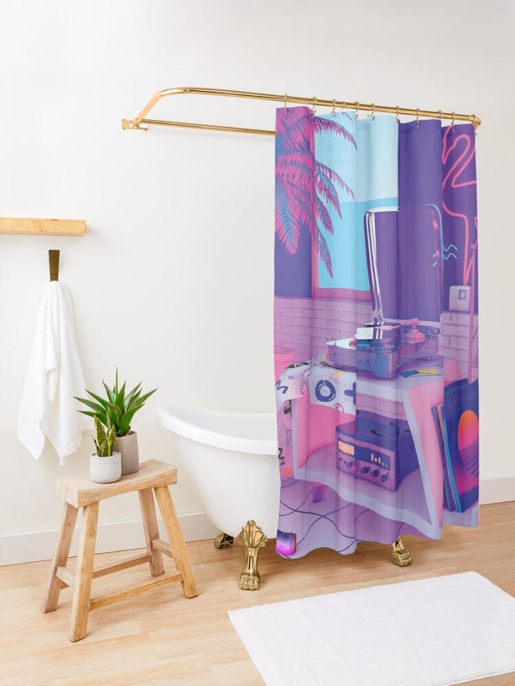 Alternate view of s p i n n i n g w a v e Shower Curtain