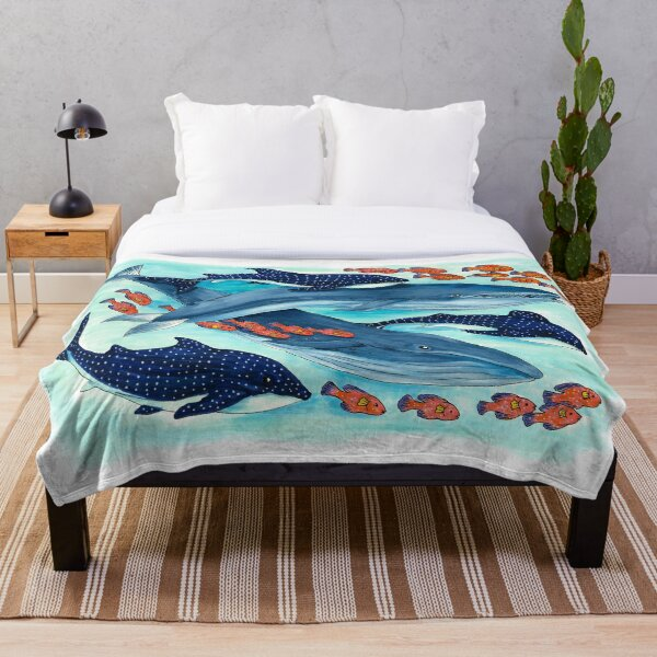 Blue Whales and Friends Throw Blanket