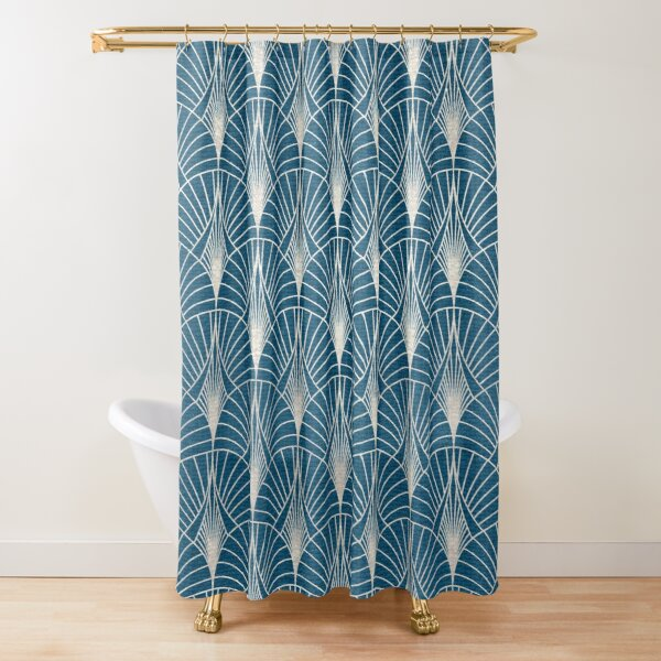(Faux) Turquoise and (Faux) Silver Art Deco Pattern Shower Curtain
