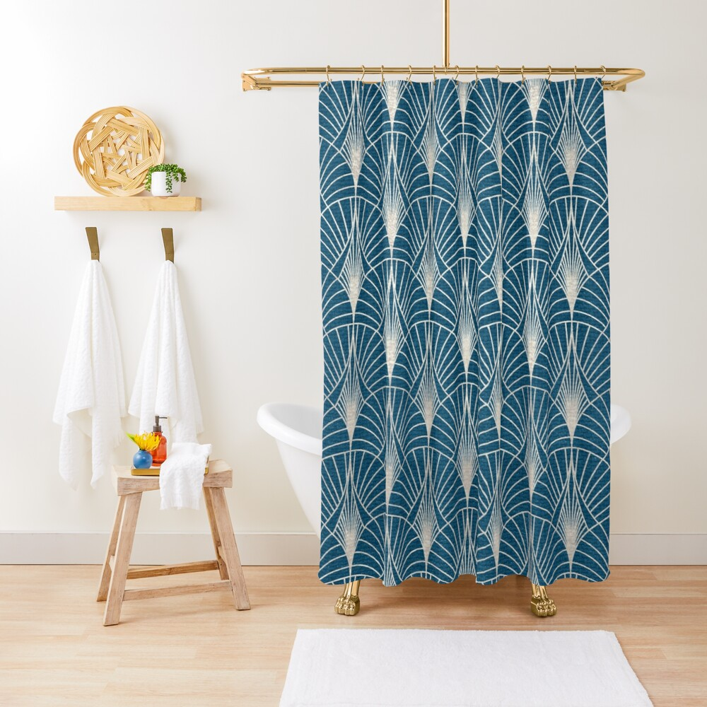 Turquoise and Silver Art Deco Pattern Shower Curtain
