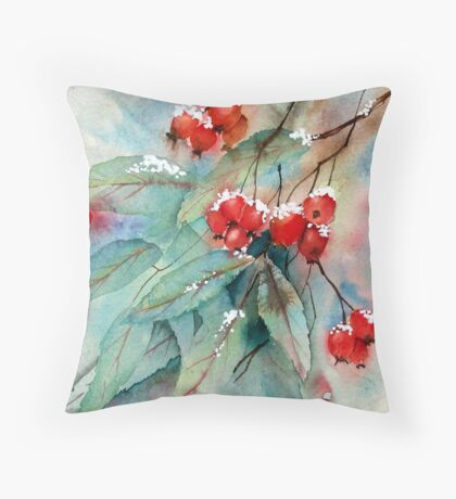 Snowy Rosehips Throw Pillow
