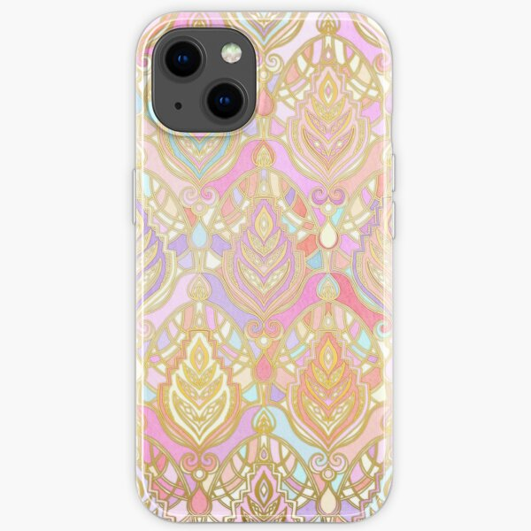 Rosy Opalescent Art Deco Pattern iPhone Soft Case