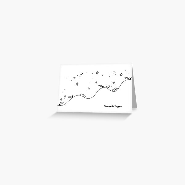 Cows on Starry Hillside at Night Greeting Card