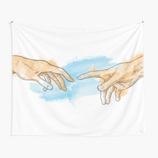 creation of adam hand drawn Watercolor painting Tapestry
