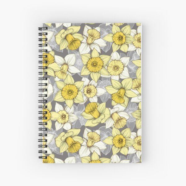 Daffodil Daze - yellow & grey daffodil illustration pattern Spiral Notebook