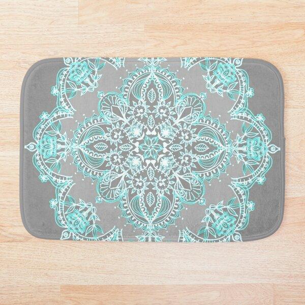 Teal and Aqua Lace Mandala on Grey Bath Mat