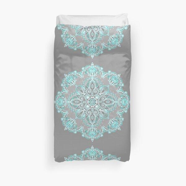 Teal and Aqua Lace Mandala on Grey Duvet Cover