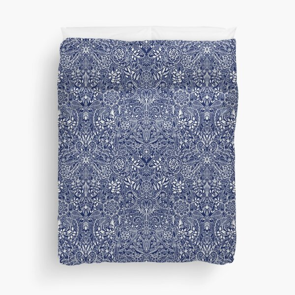 Detailed Floral Pattern in White on Navy Duvet Cover