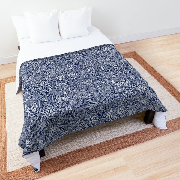 Detailed Floral Pattern in White on Navy Comforter