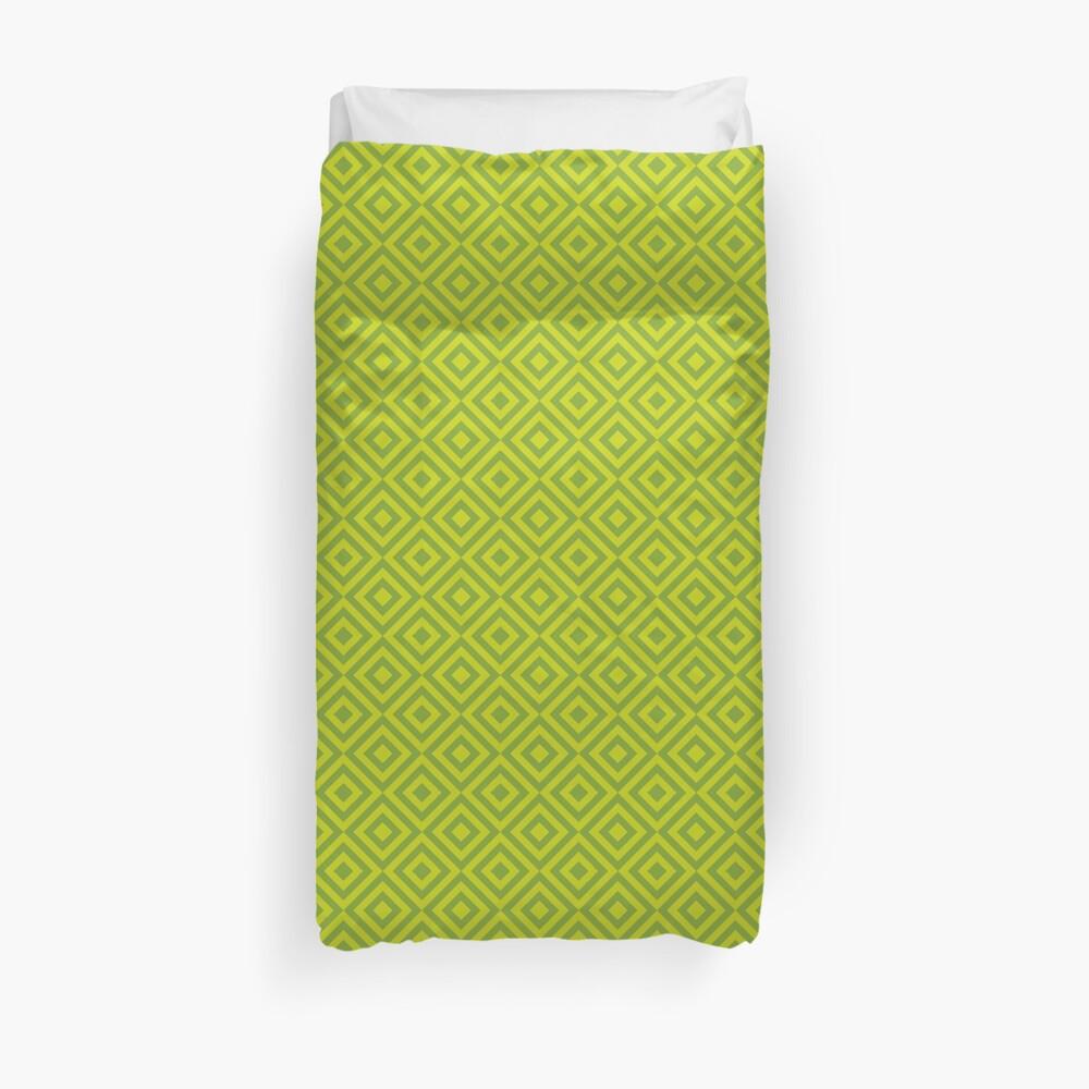Geometric Pattern: Diamond Strobe: Lime Duvet Cover