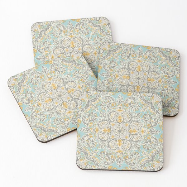 Gypsy Floral in Soft Neutrals, Grey & Yellow on Sage Coasters (Set of 4)