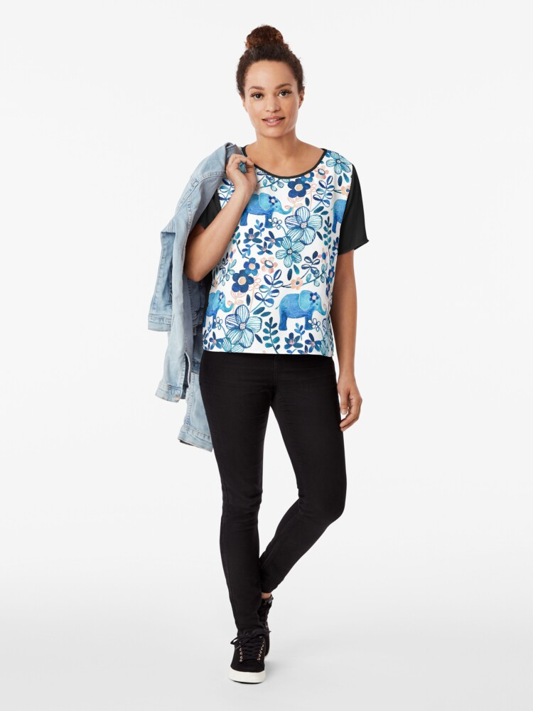 Alternate view of Blush Pink, White and Blue Elephant and Floral Watercolor Pattern Chiffon Top