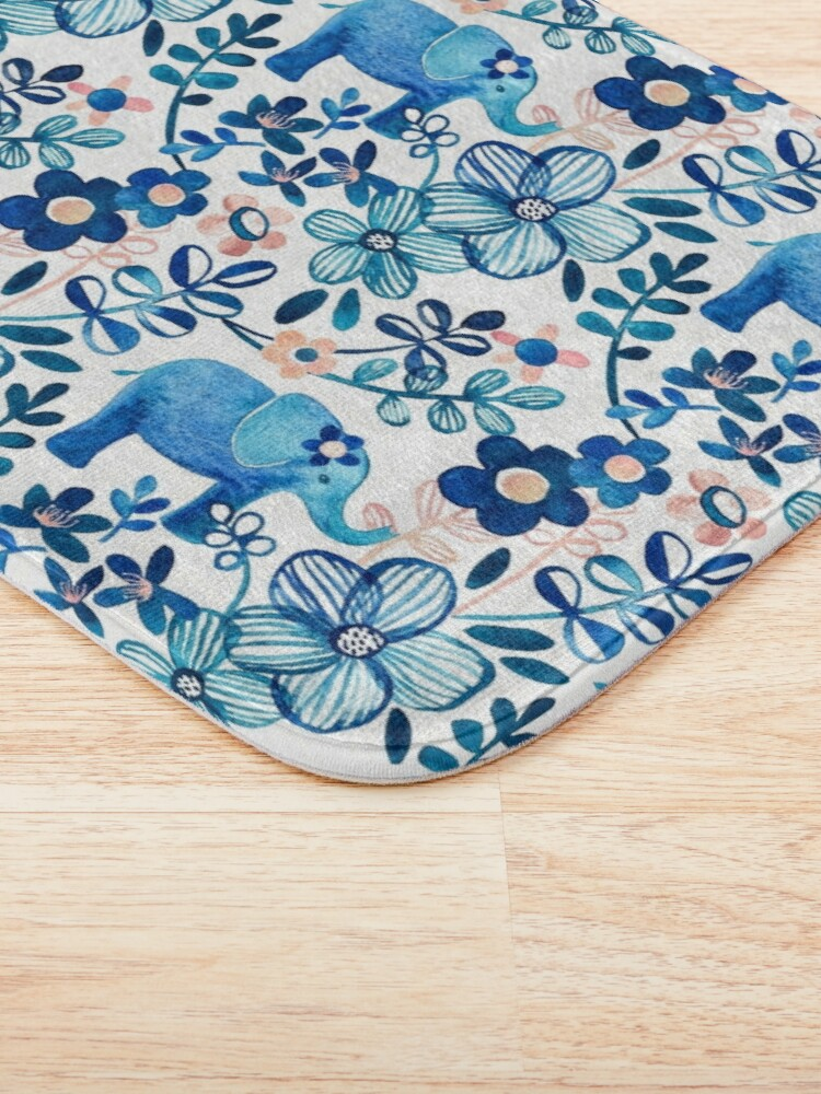 Alternate view of Blush Pink, White and Blue Elephant and Floral Watercolor Pattern Bath Mat