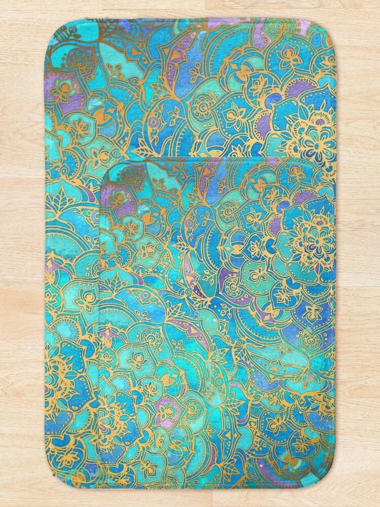 Alternate view of Sapphire & Jade Stained Glass Mandalas Bath Mat
