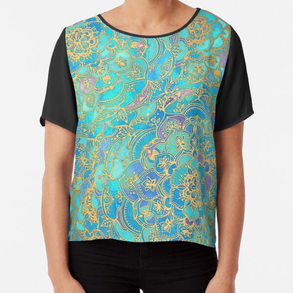 Sapphire & Jade Stained Glass Mandalas Chiffon Top