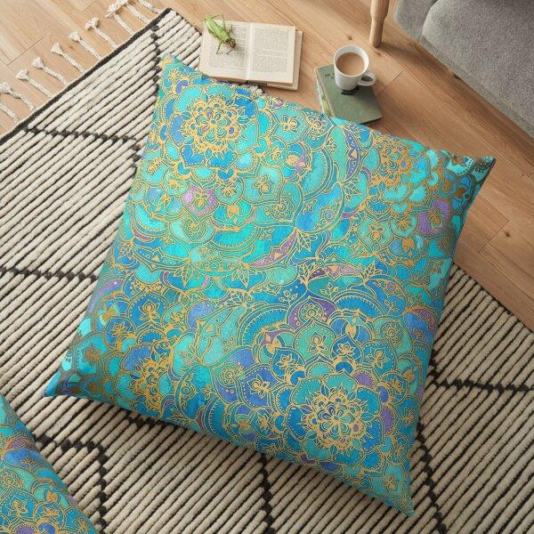 Sapphire & Jade Stained Glass Mandalas Floor Pillow