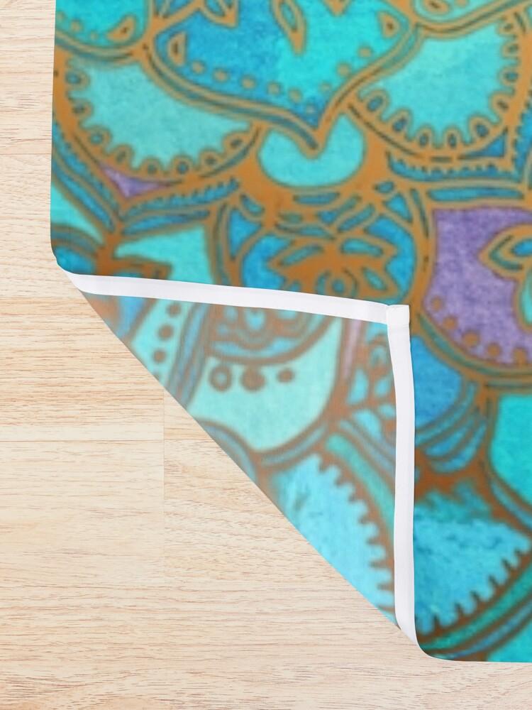 Alternate view of Sapphire & Jade Stained Glass Mandalas Shower Curtain