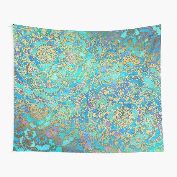 Sapphire & Jade Stained Glass Mandalas Tapestry