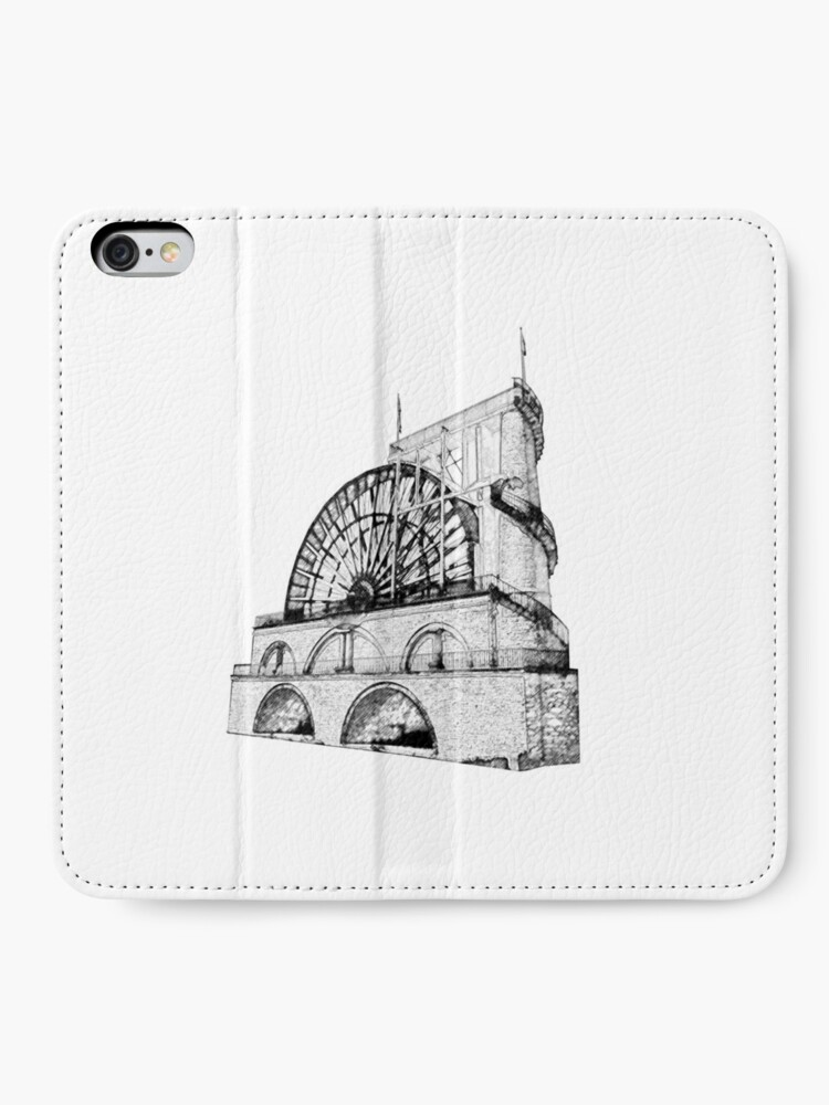 Alternate view of Laxey Water wheel Isle of Man Line Drawing style iPhone Wallet