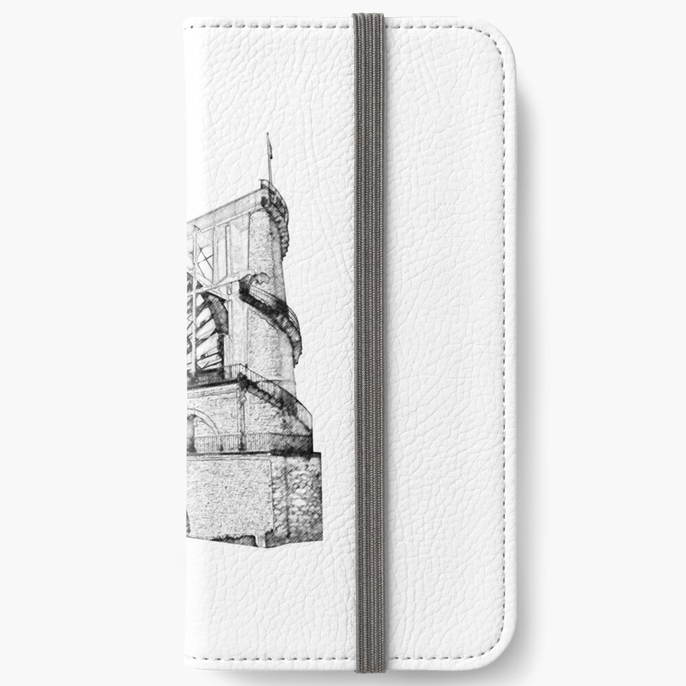 Laxey Water wheel Isle of Man Line Drawing style iPhone Wallet