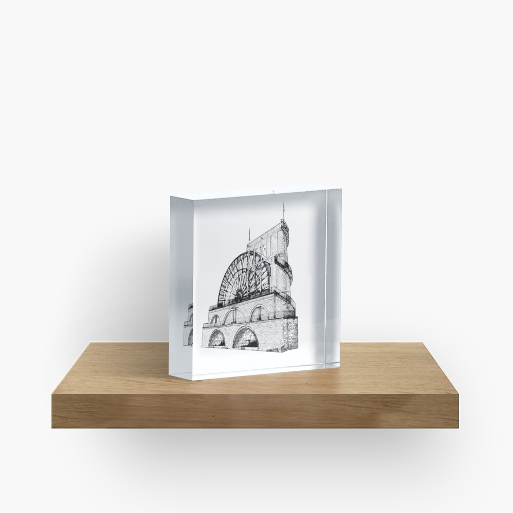Laxey Water wheel Isle of Man Line Drawing style Acrylic Block