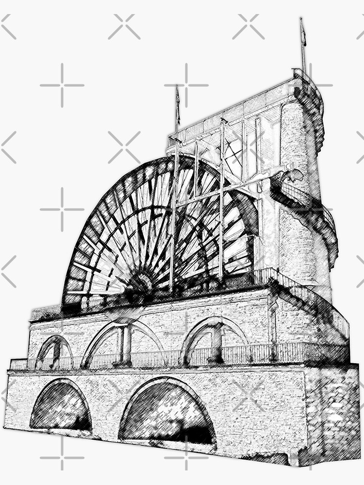 Laxey Water wheel Isle of Man Line Drawing style by tribbledesign