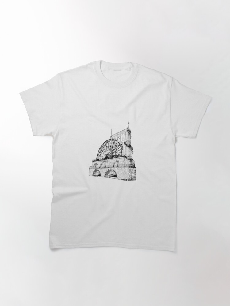 Alternate view of Laxey Water wheel Isle of Man Line Drawing style Classic T-Shirt