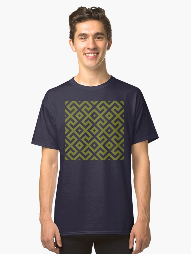 Alternate view of Geometric Pattern: Spider: Olive Classic T-Shirt