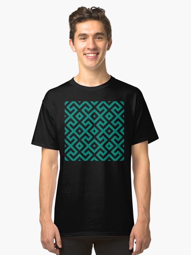 Alternate view of Geometric Pattern: Spider: Green Classic T-Shirt