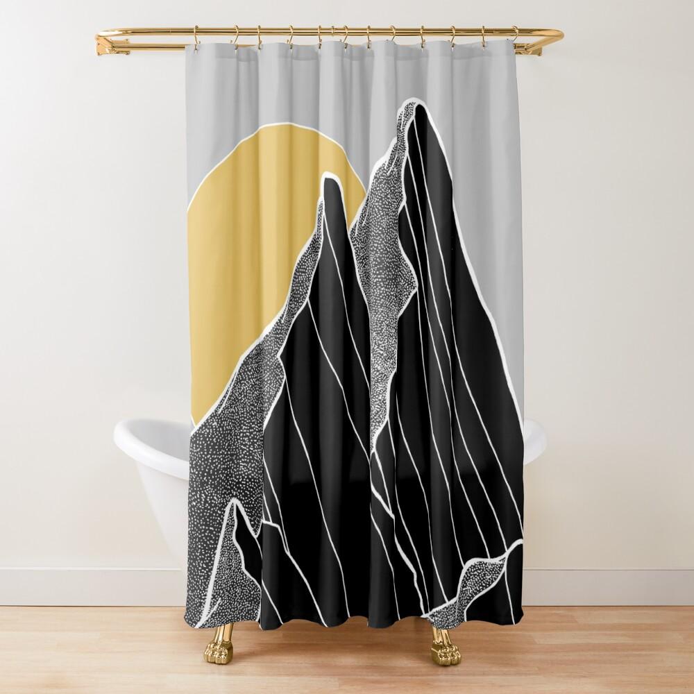 The dark peaks under the golden sun Shower Curtain